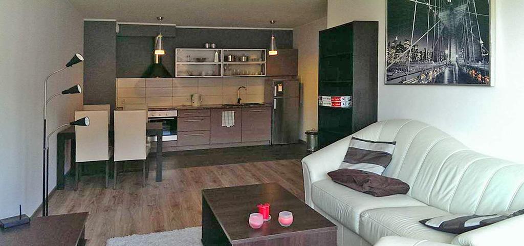 na zdjęciu widok z salonu na aneks kuchenny w apartamencie do wynajęcia w Szczecinie