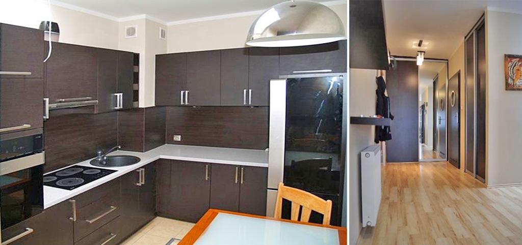 na zdjęciu ekskluzywnie wyposażony aneks kuchenny w apartamencie do wynajęcia w Szczecinie