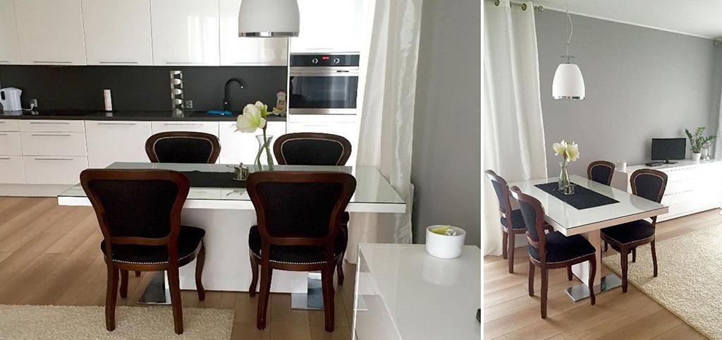 na zdjęciu luksusowy aneks kuchenny w apartamencie do wynajęcia w Szczecinie