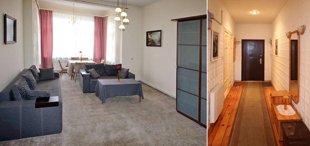 zdjęcie przedstawia salon oraz przedpokój w luksusowym apartamencie do wynajęcia w Szczecinie