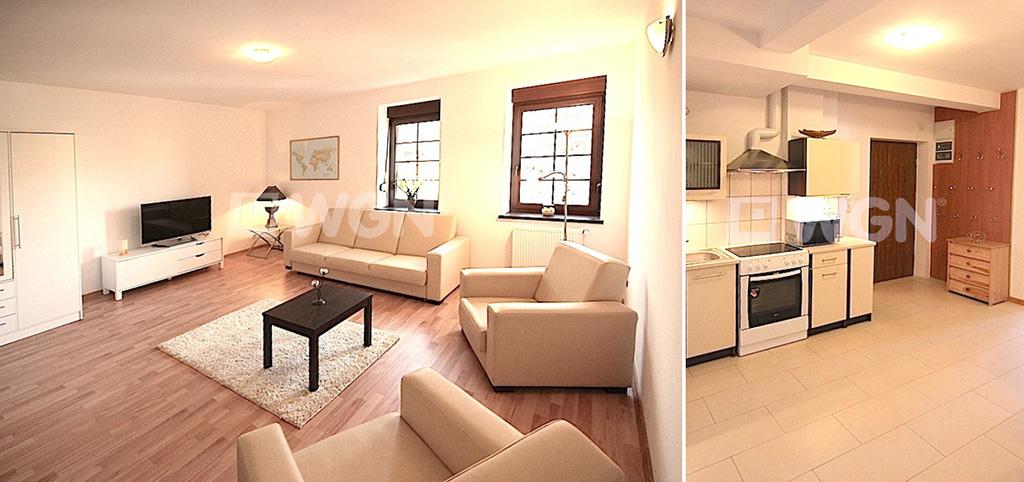 zdjęcie przedstawia salon oraz fragment kuchni w apartamencie do wynajęcia w Szczecinie