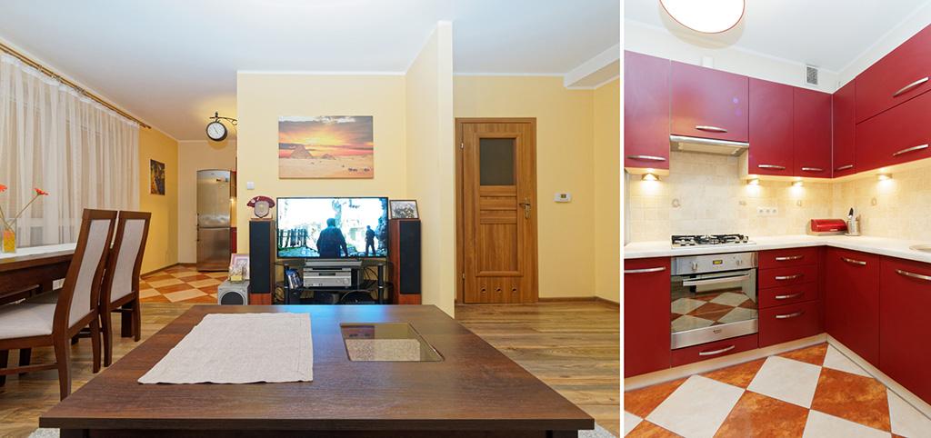 zdjęcie przedstawia salon oraz fragment kuchni w apartamencie do wynajęcia w Tarnowie
