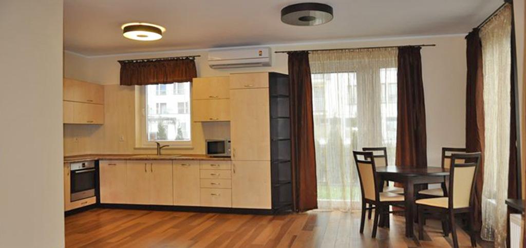 zdjęcie przedstawia nowoczesny aneks kuchenny w apartamencie do sprzedaży w Toruniu