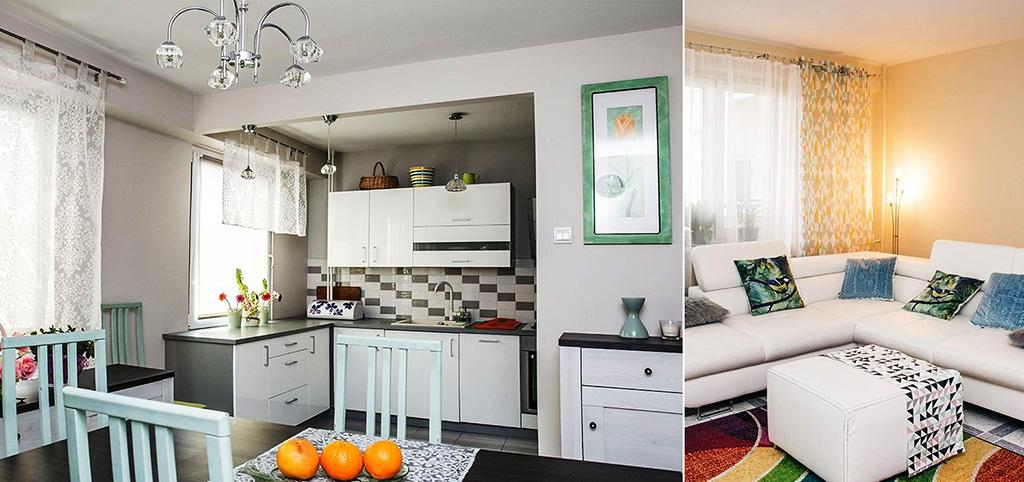 zdjęcie prezentuje widok z salonu na aneks kuchenny w apartamencie do sprzedaży w Białymstoku