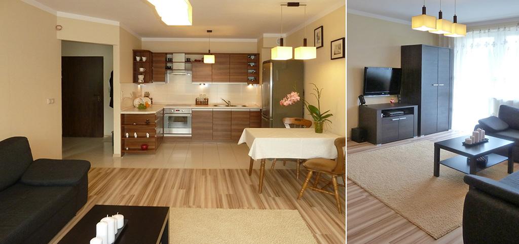 na zdjęciu aneks kuchenny oraz fragment salonu w apartamencie do sprzedaży w Olsztynie