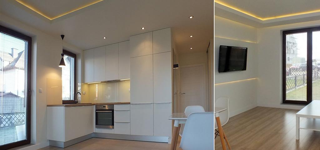 na zdjęciu salon oraz widok na aneks kuchenny w apartamencie do wynajęcia w Szczecinie