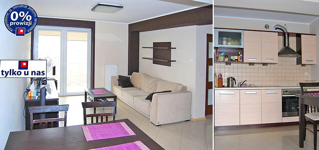 na zdjęciu salon oraz fragment kuchni w apartamencie na sprzedaż w Olsztynie