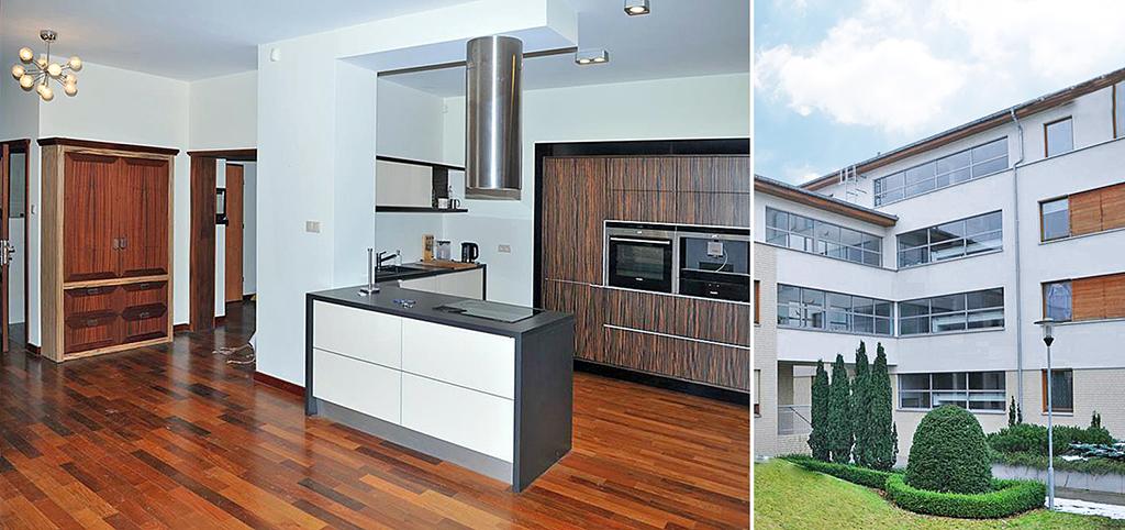 po lewej aneks kuchenny po prawej apartamentowiec w Szczecinie, w którym mieści się oferowany apartament na sprzedaż