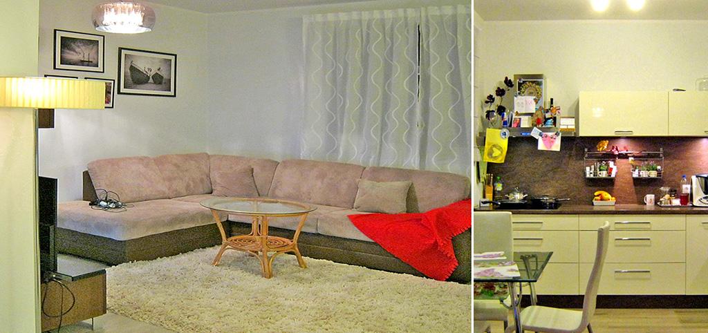 zdjęcie prezentuje salon oraz fragment aneksu kuchennego w luksusowym apartamencie do sprzedaży we Wrocławiu