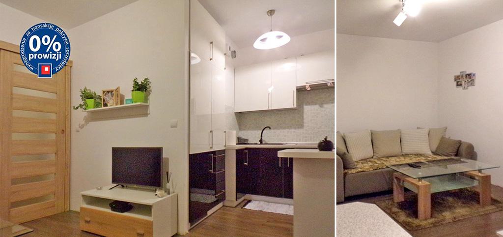 zdjęcie prezentuje widok z salonu na luksusowy aneks kuchenny w luksusowym apartamencie do sprzedaży w Olsztynie