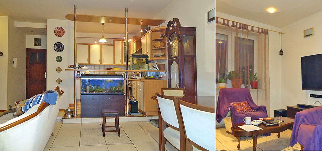 na zdjęciu widok na aneks kuchenny oraz fragment salonu w apartamencie do sprzedaży w Łodzi