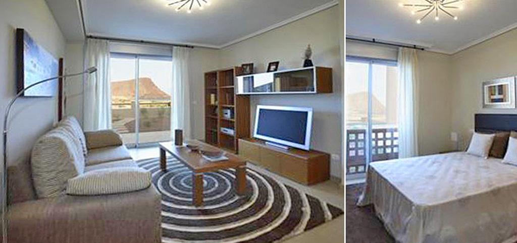 na zdjęciu salon oraz fragment sypialni w luksusowym apartamencie do sprzedaży w Hiszpanii