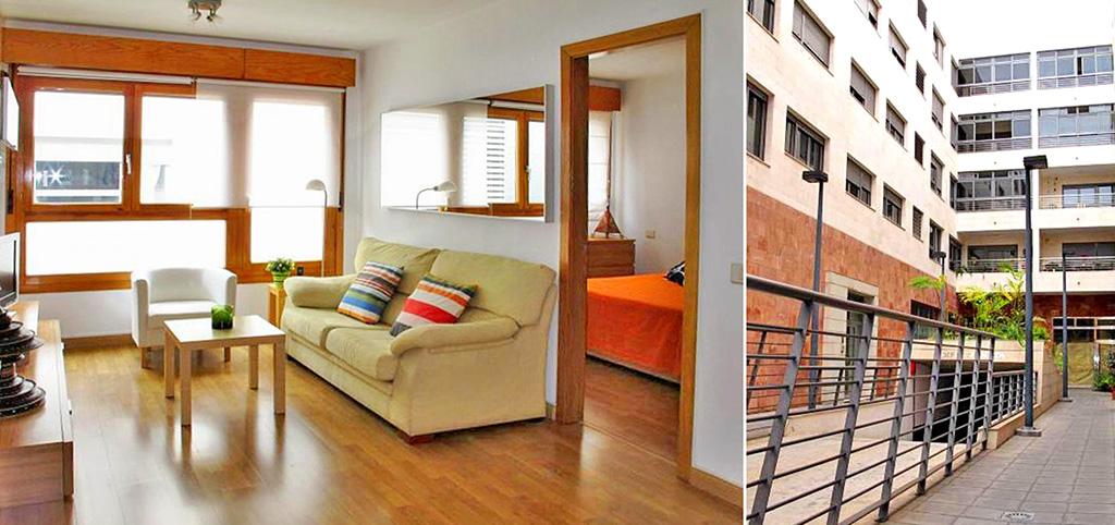 na zdjęciu ekskluzywny salon oraz apartamentowiec w Hiszpanii, w którym znajduje się oferowany na sprzedaż apartament