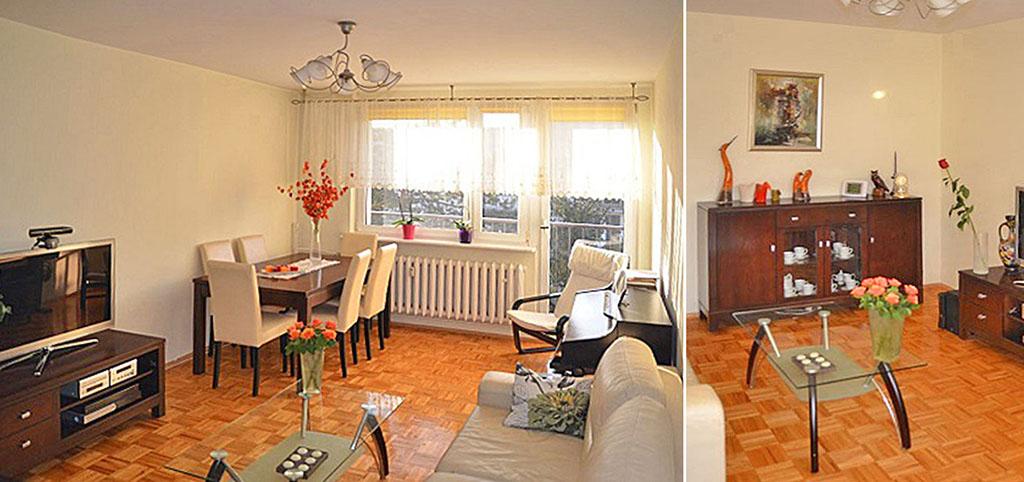 na zdjęciach luksusowy salon w apartamencie do sprzedaży w Katowicach