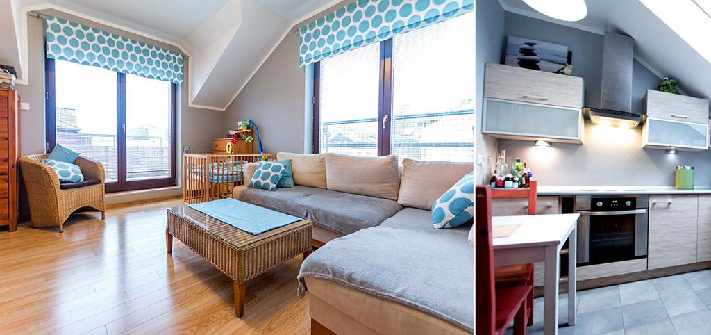 zdjęcie prezentuje salon oraz kuchnię w apartamencie do sprzedaży w Szczecinie