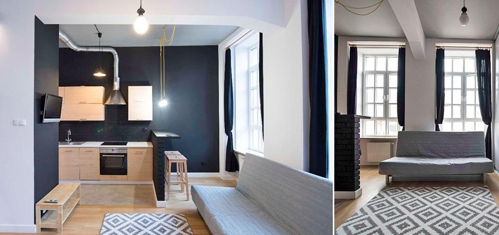 aneks kuchenny oraz fragment salonu w luksusowym apartamencie do sprzedaży w Białymstoku