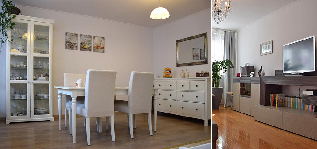 po lewej jadalnia, po prawej fragment salonu w ekskluzywnym apartamencie do sprzedaży w Legnicy