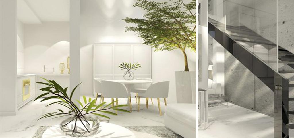 wizualizacja przedstawia przykładową aranżację luksusowego apartamentu do sprzedaży w Szczecinie