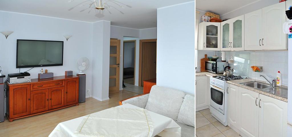 na zdjęciu salon oraz kuchnia w apartamencie do wynajęcia w Szczecinie