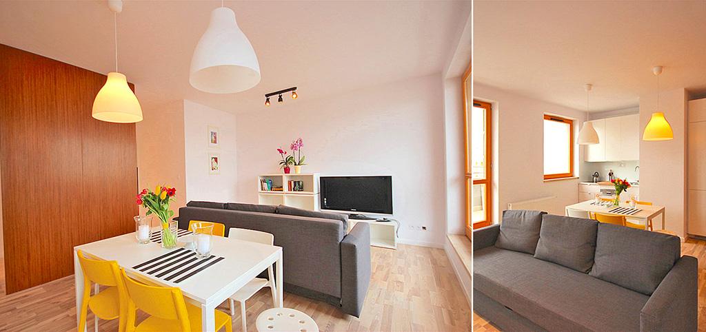 na zdjęciu salon w nowoczesnym apartamencie do sprzedaży w Szczecinie
