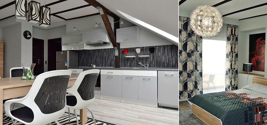 zdjęcie przedstawia kuchnię oraz fragment salonu w apartamencie do sprzedaży w Szczecinie
