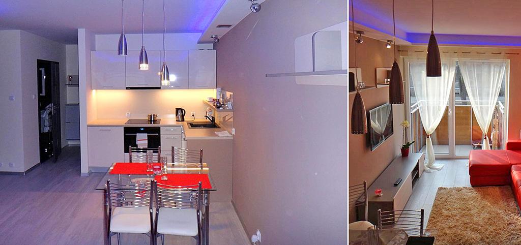 zdjęcie przedstawia komfortowy aneks kuchenny oraz salon w luksusowym apartamencie w Szczecinie na sprzedaż