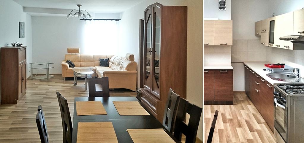 po lewej salon po prawej fragment kuchni w luksusowym apartamencie do wynajęcia w Tarnowie