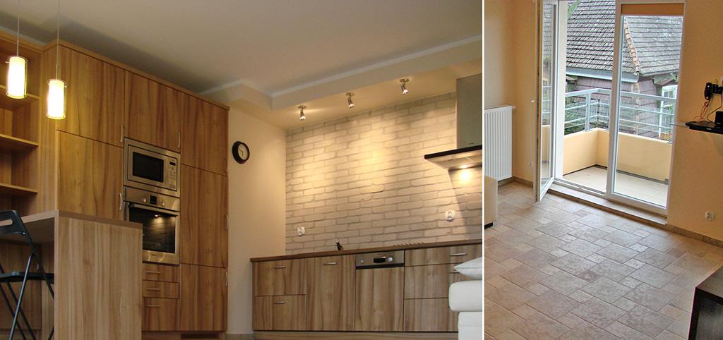 zdjęcie prezentuje aneks kuchenny oraz fragment salonu w luksusowym apartamencie do wynajęcia w Szczecinie